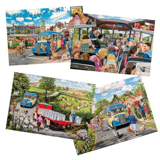 Puzzle 4 x 500 pièces : Bus de campagne - Gibsons-G5037