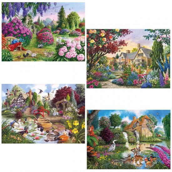 Puzzle 4 x 500 pièces : Faune et flore de nos campagnes - Gibsons-G5025