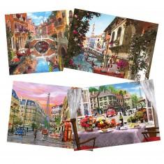 Puzzle 4 x 500 pièces : Paris & Venise