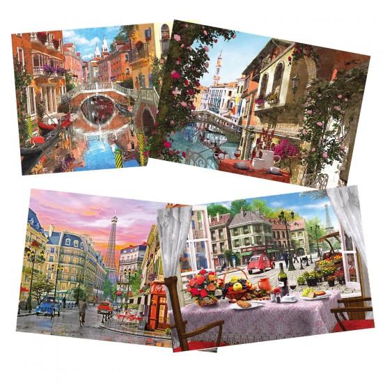 Puzzle 4 x 500 pièces : Paris & Venise - Gibsons-G5039