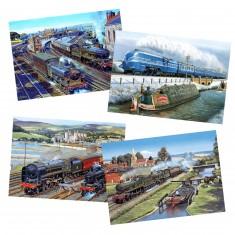 Puzzle 4 x 500 pièces : Trains à vapeur