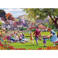 Puzzle 500 pièces : Mat Edwards : Pique-nique dans l'herbe