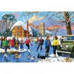 Puzzle 500 pièces : Patineurs sur le lac gelé