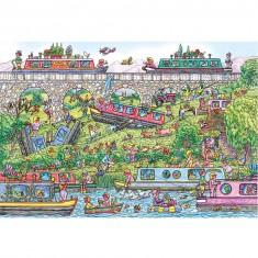 Puzzle 500 pièces : Péniches en folie