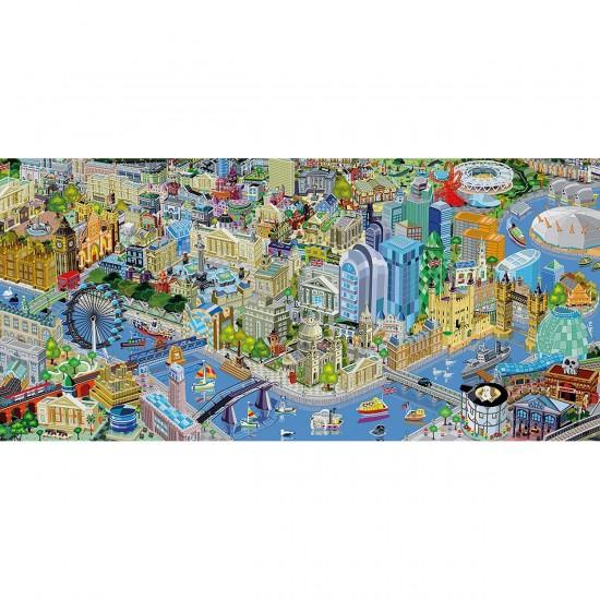 Puzzle 636 pièces panoramique : Londres vue du ciel - Gibsons-G4023