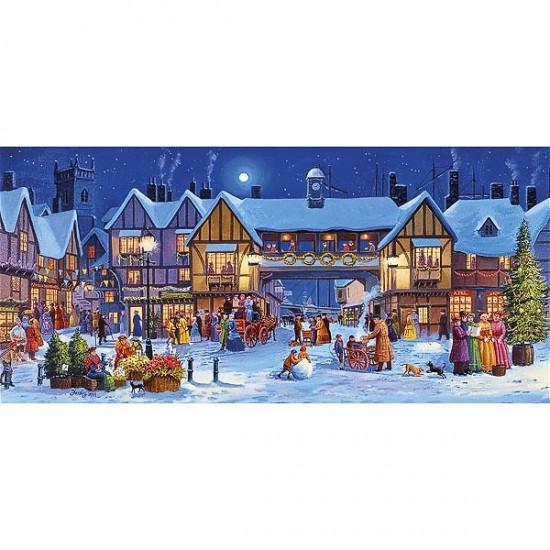 Puzzle 636 pièces panoramique : Noël en ville - Gibsons-G386