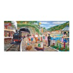 Puzzle panoramique 636 pièces : Derek Roberts : Gare en bord de mer