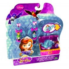 Bijoux Princesse Sofia : Bagues et boucles d'oreilles avec mini figurines : Théière bleue