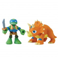 Figurine Tortues Ninja Half-Shell Heroes avec dino : Leonardo et Tricératops
