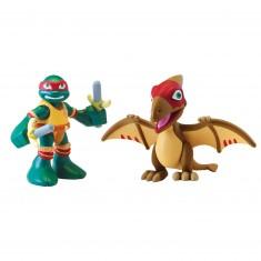 Figurine Tortues Ninja Half-Shell Heroes avec dino : Raphael et Pteranodon