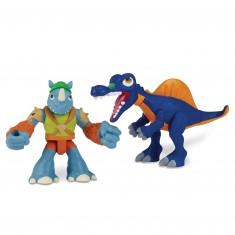Figurine Tortues Ninja Half-Shell Heroes avec dino : Rocksteady et Spinosaurus