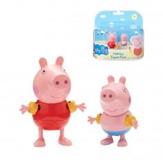 Figurines Peppa Pig en vacances : Peppa et Georges (avec brassards)