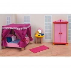 Maison de Poupées : Mobilier pour Château rose Goki : Chambre à coucher