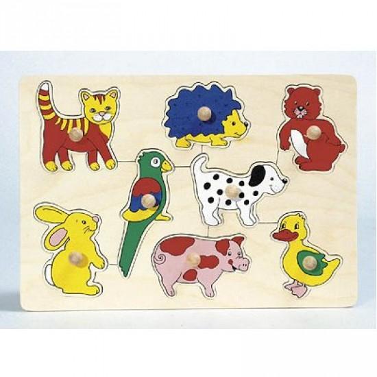 Encastrement 8 pièces en bois : Bébés animaux - Goki-86HP007