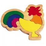 Puzzle 6 pièces en bois : Le coq