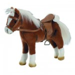 Accessoires de poupées : Götz Boutique : Peluche Cheval articulé avec sel et harnais : Marron