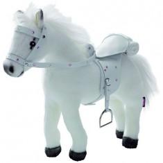 Accessoires de poupées : Götz Boutique : Peluche cheval avec bruitages, sel et harnais : Blanc