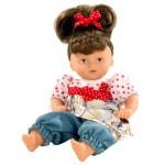 Poupée Mini Muffin 22 cm cheveux châtains avec noeud rouge