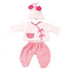 Vêtement pour poupée de 30 à 33 cm : Ensemble de nuit avec bonnet blanc