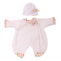 Vêtement pour poupée de 30 à 33 cm : Pyjama blanc avec bonnet