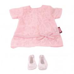 Vêtement pour poupée de 30 à 33 cm : Robe rose et chaussures blanches