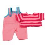 Vêtement pour poupée de 30 à 33 cm : Salopette rose et haut à rayures