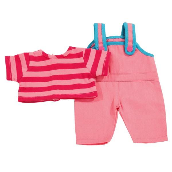 Vêtement pour poupée de 42 à 46 cm : Salopette rose et haut à rayures - Gotz-3402576