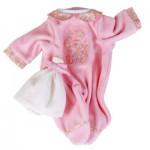 Vêtement pour poupée de 42 à 46 cm : Tenue rose avec bonnet blanc