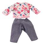 Vêtement pour poupée de 45 à 50 cm : Pull à fleurs et pantalon denim