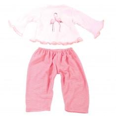 Vêtement pour poupée de 45 à 50 cm : Pyjama flamands roses