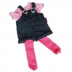 Vêtement pour poupée de 45 à 50 cm : Salopette jeans, T-shirt et collants
