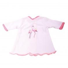 Vêtement pour poupée de 45 à 50 cm : Tunique blanche avec flamands roses