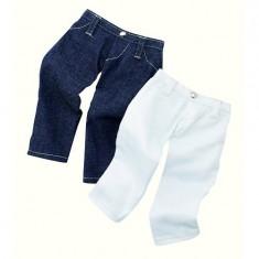 Vêtements pour poupée de 42 à 50 cm : Götz Boutique Lot de 2 pantalons : Jeans et blanc