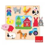 Encastrement 12 pièces en bois : Puzzle silhouettes ferme