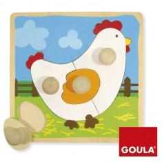 Encastrement 4 pièces en bois : Puzzle poule