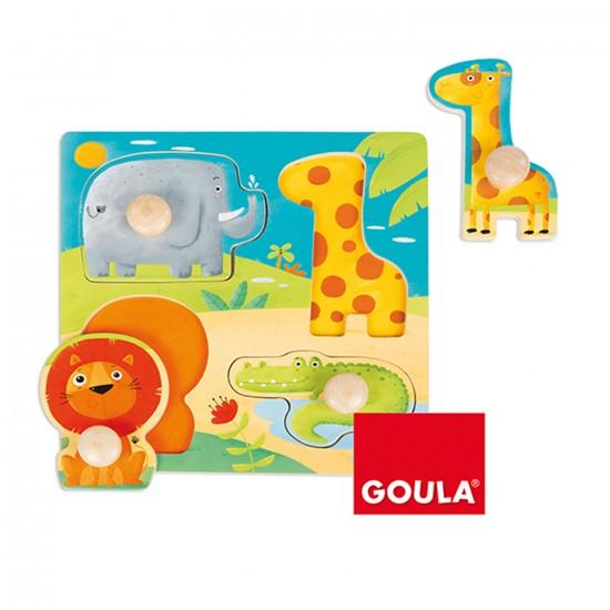 Encastrement 4 pièces en bois : Animaux Sauvages - Diset Goula - 53004