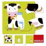 Encastrement 7 pièces en bois : Puzzle 3 niveaux vache