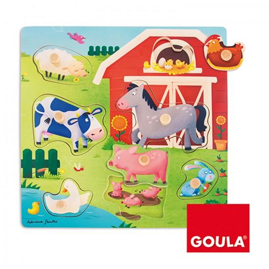 Encastrement 7 pièces en bois :  Mamans bébés animaux de la ferme - Diset Goula - 53040