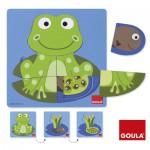 Encastrement 8 pièces en bois : Puzzle 3 niveaux grenouille