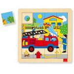 Puzzle 16 pièces en bois : Camion pompiers