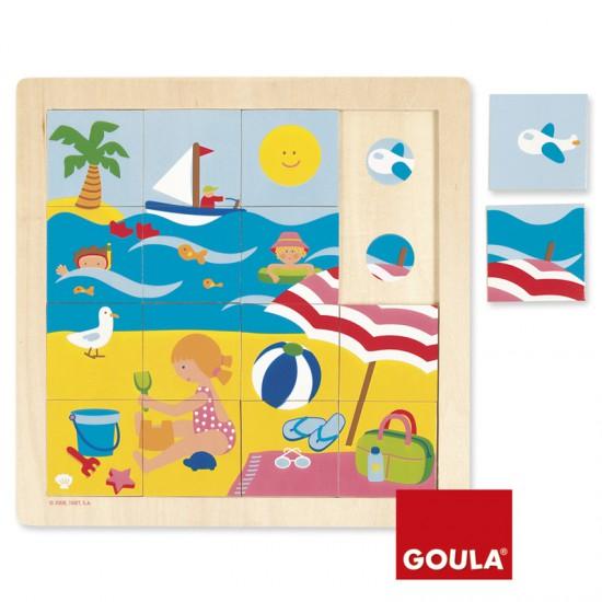 Puzzle 16 pièces en bois : Eté - Diset-Goula-53086