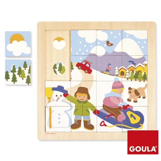 Puzzle 16 pièces en bois : Hiver - Diset-Goula-53088