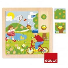 Puzzle 16 pièces en bois : Printemps