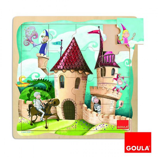 Puzzle 16 pièces en bois : Puzzle château - Diset-Goula-53098