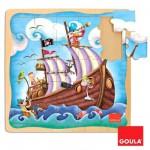 Puzzle 25 pièces en bois : Puzzle bateau de pirate