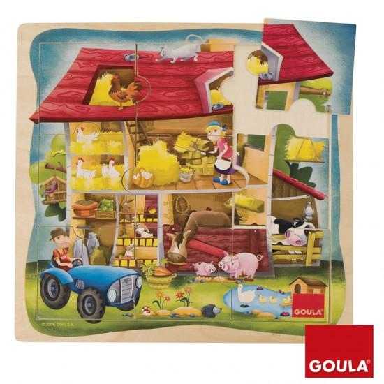 Puzzle 9 pièces en bois : Puzzle ferme - Diset-Goula-53097