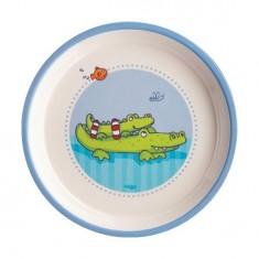 Assiette en mélamine Gentils crocodiles : 18 cm