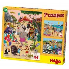 Puzzle 3 x 24 pièces : Animaux Dingo