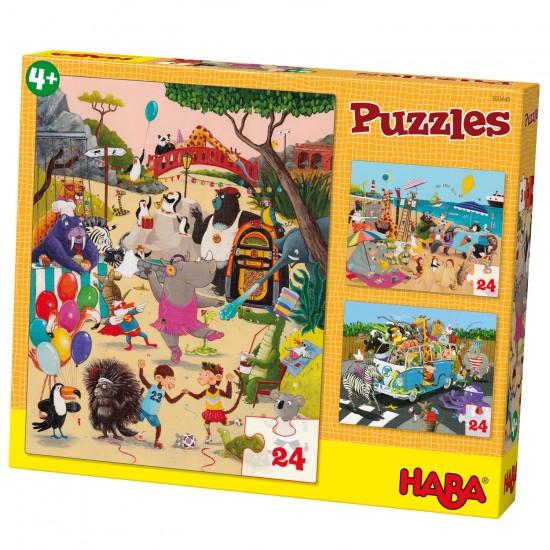 Puzzle 3 x 24 pièces : Animaux Dingo - Haba-300445