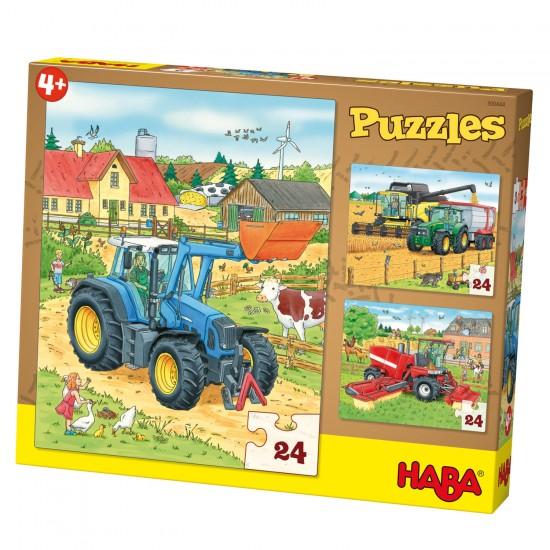 Puzzle 3 x 24 pièces : Tracteur & Cie - Haba-300444